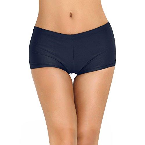 FEESHOW Frauen Damen UPF 50+ Badehose Schwimmshorts Stretch Boxershort für Schwimmen Strand Marineblau L