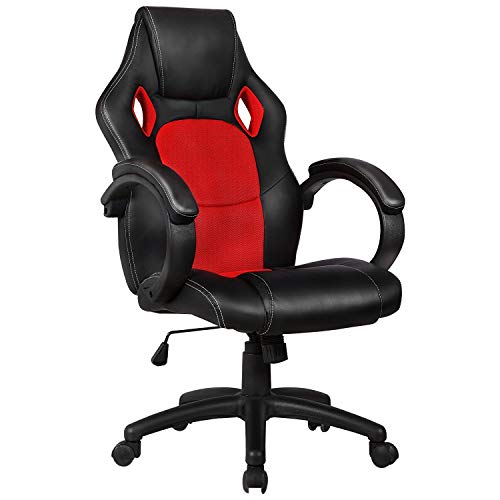 Mecor Office Chair PU Leather Gaming Chair,High Back Ergonomic Racing Chair Swivel Executive Computer Chair Headrest and Lumbar Support (Black)