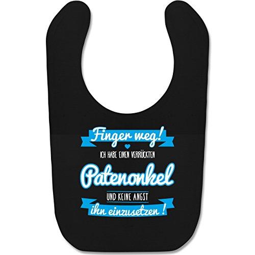 Shirtracer Sprüche Baby - Ich habe einen verrückten Patenonkel blau - Unisize - Schwarz BZ12 - Baby Lätzchen Baumwolle