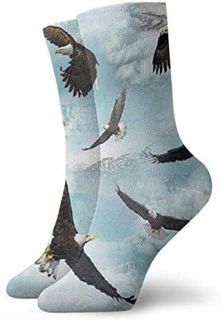 Heren en damessokkenAmerican Bald Eagle Kleurrijke grappige nieuwigheid Crew sokken