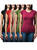 Sexy Basics Women's 5 Pack & 10 Pack Casual & Active Basic Cotton Stretch Color T Shirts (5 Pack- Olive/Fuschia/Red/Khaki/Black, Medium)