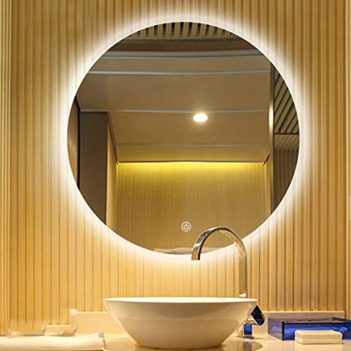 Miroir Futé Fixé Au Mur De Miroir De Salle De Bains Fixé Au Mur De Rétroéclairage LED De Miroir Rond Avec La Fonction Anti-buée (Couleur : Interrupteur tactile, taille : 60 cm)
