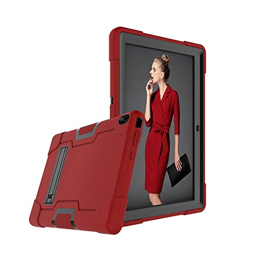 Cherrry for Lenovo Tab E10 (TB-X104F) Case,Heavy Duty Shockproof Hybrid Rugged Hard Armor Full Body Protective Case (Built-in Stand) for Lenovo Tablet 2018 Tab E 10 10.1 Inch Case (Red/Black)