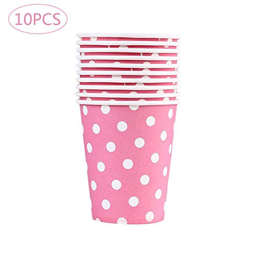Lot de 10 gobelets Da.Wa en carton à motif à pois jetables pour boissons chaudes (thé, café) pour mariages et fêtes, 250 ml, Papier, rose, 7.4*5.2*8.3cm