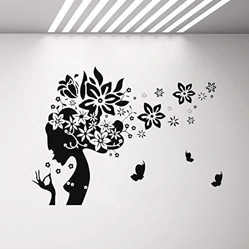 SLQUIET Mujer Silueta Peluquería Tatuajes de pared y mariposas Vinilos adhesivos de pared...