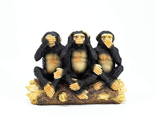 Benera 3er Set Affen Nichts Sehen Hören Sagen Skulptur, Dekofigur, Glücksbringer oder Dekoration