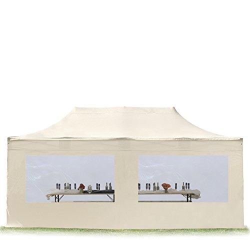 TOOLPORT Faltpavillon Faltzelt Premium NEO 3x6m - mit Panoramafenster ALU Pavillon Partyzelt Dach 100{a0d27bca1e320933d85c7f8fe30d5348d8cded9c218f3d0ef44cb242510c6326} WASSERDICHT Creme