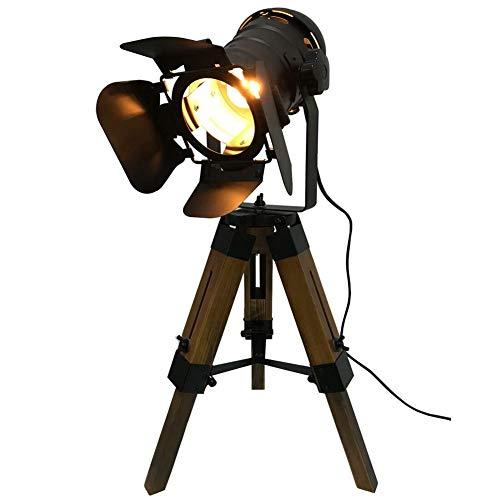 Bureaulamp, industrieel vintage houten statief, tafellamp, in hoogte verstelbaar, draaibare lampkop, kan schaduw openen en sluiten, E27 Nautical Black Spotlight verlichting met schakelaar