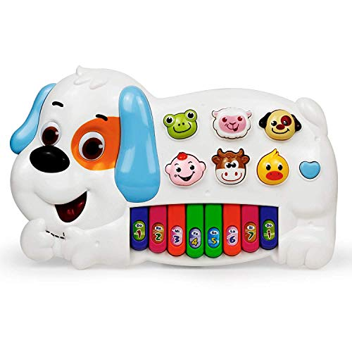 Bambiya Kids Piano Keyboard Toy - Puppy Piano with 3 Play Modes Including 6 Animal Sounds, 6 Rhythms, 8 Musical Notes and 14 Tunes - Musical Toy Ideal for Early Music Learning, Educational Toy