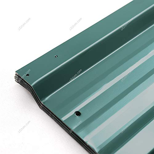 The Fellie 12pcs Roof Panels Sheets Galvanised Steel Greenhouse Shed Roof Sheet Garage Metal Green Roofing Covers, 129x45cm
