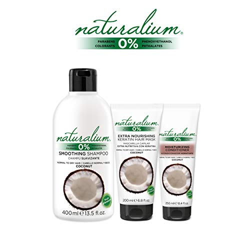 Naturalium PACK Cuidado Capilar Coco - Kit para el Cabello con Champú Suavizante 400 ml + Mascarilla Pelo 200 ml + Acondicionador Hidratante 250 ml