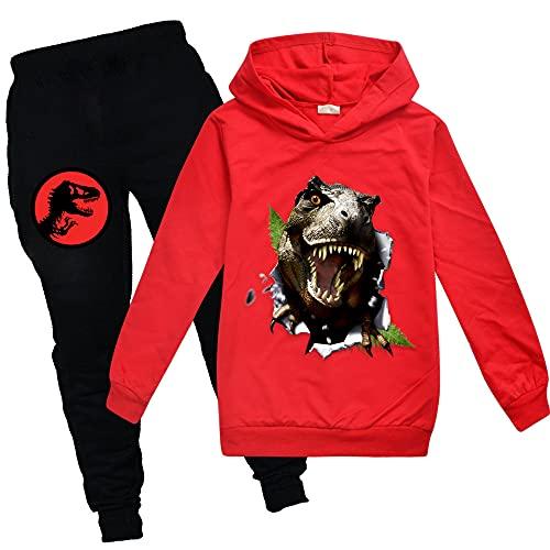 Jurassic Park - Sudaderas con capucha y pantalones unisex para niños, rosso, 7-8 Años