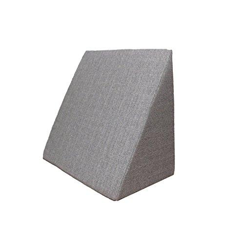 Almohada en Forma de cuña, Soporte para la Espalda en la Cama, Sala o el sofá/Almohada para Leer o Ver televisión Medidas: 60 x 50 cm, Altura: 30 cm - Gris
