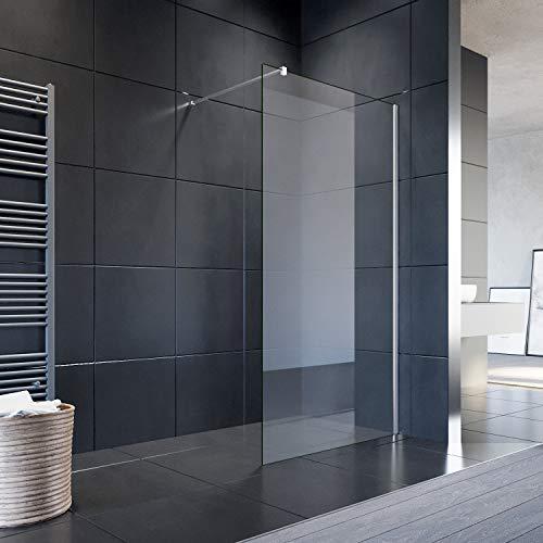 SONNI Duschwand Glas 90 x 200 cm Walk In Dusche 8 mm NANO Glas Duschtrennwand Glas Badewanne Duschwand