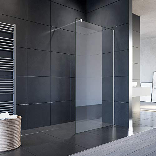 SONNI Duschwand Glas 120 x 200 cm Walk In Dusche 8 mm NANO Glas Duschtrennwand Glas Badewanne Duschwand