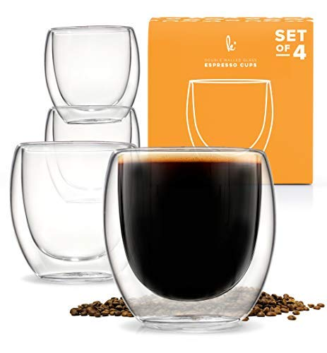 Espresso Shot Glass, Durable Double Walled Espresso Cups, Clear Shot Glasses for Coffee Shots, Shot Glasses Set of 4, 2.7oz