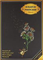 【4枚入り】 スクラッチアート ポストカード 花 建物 動物 簡単 ヒーリング 絵画 スクラッチ カード (小人と華) PR-SCRATCHCARD-HANA