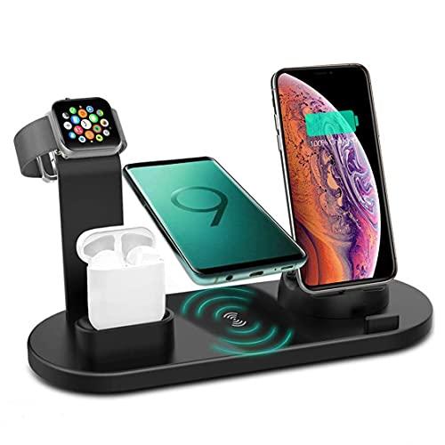 4 en 1 Soporte de Carga inalámbrica, estación de Basura de Carga inalámbrica rápida de 10W Qi para Dispositivos múltiples para Apple Watch/iPhone 12 11 XS MAX XR x 8