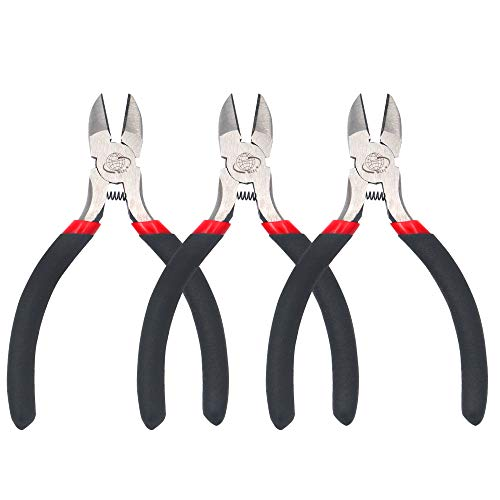 Wire Cutters Diagonal Cutting Pliers Mini Precision Side Cutter for Electronics Wire Cable Cutting, 3 Pack