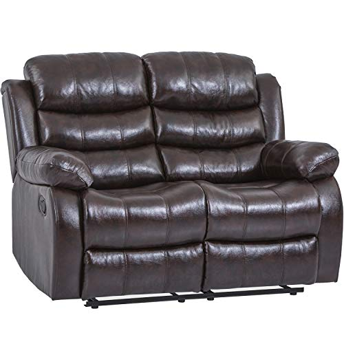 Recliner Chair Reclining Sofa Couch Sofa Leather Home Theater Seating Manual Recliner Motion for Living Room (Loveseat, Brown)