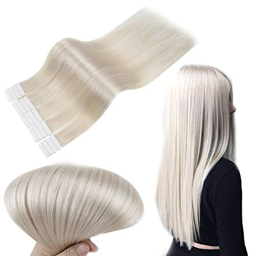 RUNATURE Tapes Haarverlängerung Band Echthaar 35Cm 14 Zoll Einfarbig 800 Weiße Blondine 40g 2.0g Pro Stück Tape In Haar Extensions Echthaar Echtes Haare Extension