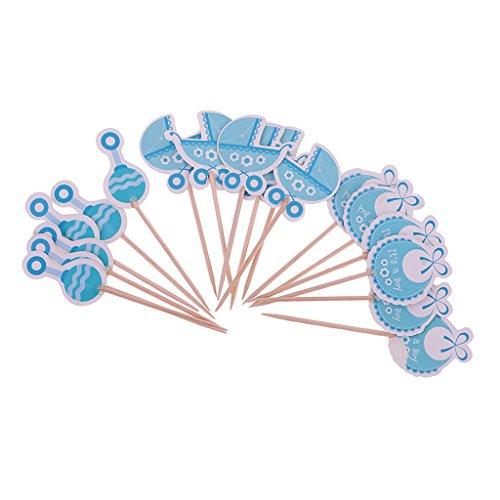 FLAMEER 18x Kuchen Picks Cupcake Topper Tortenstecker Muffin Dekoration Backen Werkzeug für Babyparty und Taufe - Es ist EIN Junge