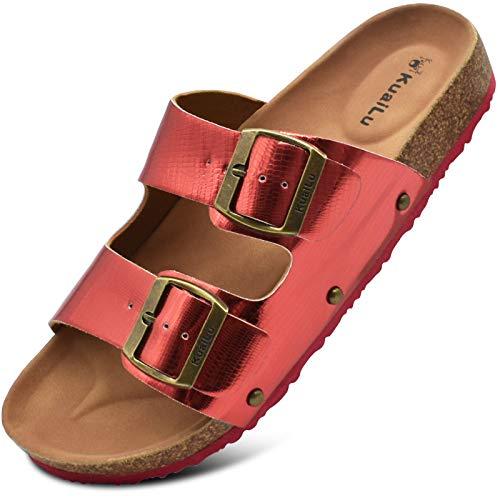 KuaiLu Sandalias de Pala Mujer Metálico Piel Verano Sandalias Bio Ajustable Buckle Comodas Plataforma Mules Planas Zuecos Rojo 36