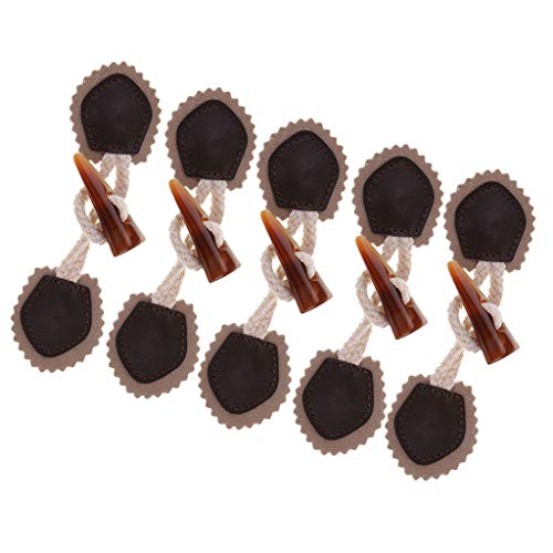 Bonarty 6 Pair PU Leather Horn Toggle Button Sew on Clothing Bags Duffle Jacket Coat