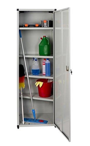 XL Metallschrank Besenschrank mit Böden und Platz für sperrige Gegenstände in Hellgrau mit 4 höhenverstellbaren Böden. Außenmaß 60 x 44 x 180 cm. Solide Konstruktion, TÜV geprüft.