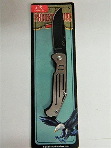 jin Couteau pliants Poche léger 15cm Manche métal Lame 6cm Motif Gris