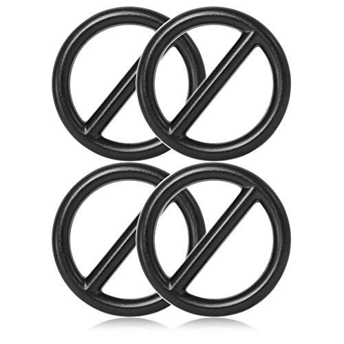 Ganzoo O - Ring mit Steg aus Stahl, 4er Set, DIY Hunde-Leine/Hunde-Halsband, nichtrostend, Steg-Ring ideal mit Paracord 550, geschweißt, Farbe: schwarz