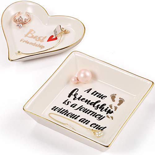 Gifts for Women Friends - Friend Gifts Ring Trinket Dish, White Ceramic Jewelry Trays Square and Heart Shape for BFF Friends Birthday Gift- A True Friendship is A Journey without an end