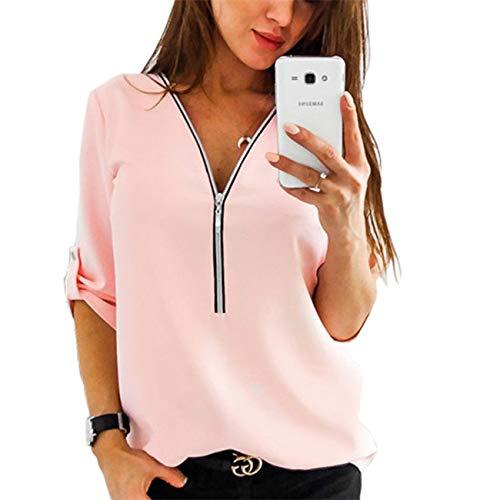 Camisa de Blusa para Mujer Media Manga Tops Camisa Elegante Camiseta con Cremallera Cuello en V con Cremallera-PK-XL