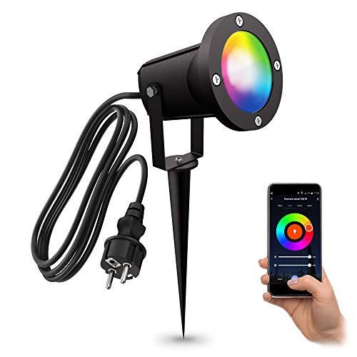 linovum CARI Erdspieß Gartenstrahler mit RGBW Smart LED GU10 - kompatibel mit Alexa & Google Home WLAN App - 2m Kabel mit Stecker