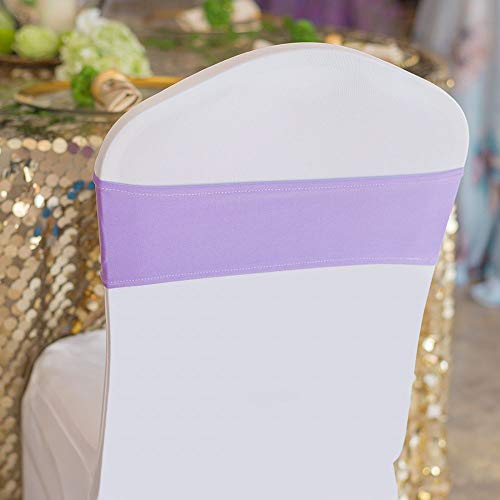 10/50/100PCS Spandex Stretch Chair Bands Sashes Elastic Chair Sashes Bows for Wedding Party Event Ceremony Reception Banquet Decorations (Lavender, 10)