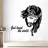 ASFGA Glaube Jesus Christus Wandtattoo Vinyl Kunst Wandbild Kirche Wandaufkleber Religion Interieur beweglich Klassische christliche Wohnkultur 56x56cm
