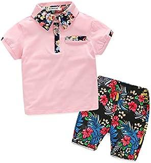 Boys Tommelise Summer New Suit,2-Piece Suit,3-11 Years Short-Sleeved Lapel Shirt + Color Pants