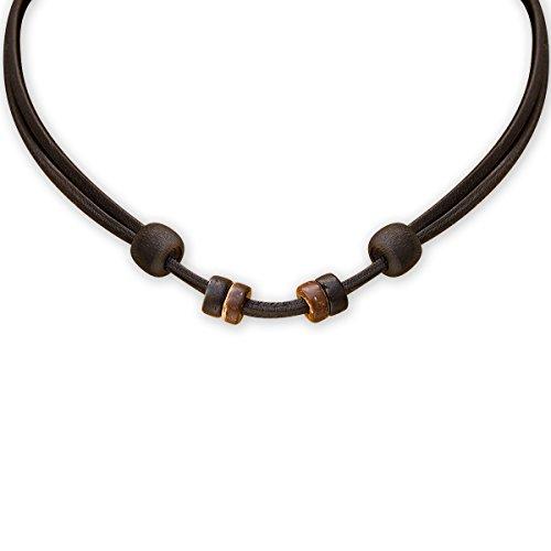 HANA LIMA ® Lederkette schwarz Lederband verstellbar für eigenen Anhänger Halskette Leder Surferkette