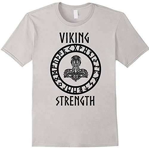 LRKZ Camiseta de manga corta con cuello redondo de Thor's Hammer Vikingo Mitología Nórdica Islandesa Pagan Magic Symbol Adultos Harajuku Tatuaje Amuleto Tops, Gris, XXL
