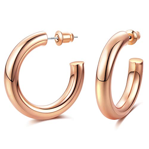 EARLLER 14K Rose Gold Plated Chunky Open Hoops High Polished Hoop Earrings Jewellery for Women Girls…