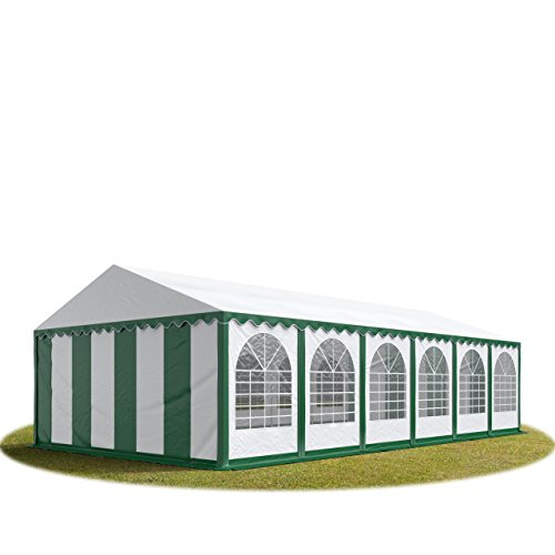 Carpas para fiestas y eventos 6x12 m, lona de PVC de alta calidad de 550g/m² en verde y blanco, con tubos de acero inoxidables atornillados de gran altura