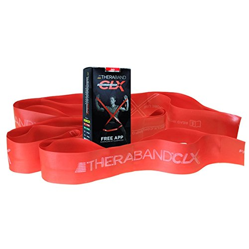 TheraBand CLX Resistance Band with Loops, Fitness Band for Home Exercise and Full Body Workouts, Portable Gym Equipment, Best Gift for Athletes, Individual 5 Foot Band, Red, Medium, Beginner Level 3