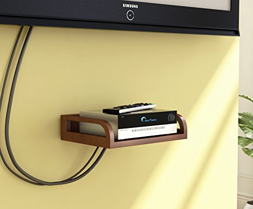 Home Sparkle MDF Carved Set Top Box Holder   Wooden Set Top Box and WiFi Modem Wall Mounted Holder-Brown (Designed by Craftsman)
