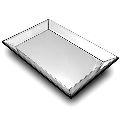 meetart Round 29x29cmSilver Mosaic Mirror Vanity Organizer Decorative Mirror Tray Vanity trayMarkup Jewelry Tray Silver Tray for Home Decor
