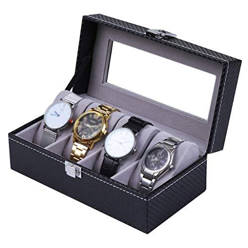 AMAFS Caja de Reloj para Hombres/Mujeres 4 Rejillas de Fibra de Carbono Vitrina de exhibición de joyería Organizador de escaparate con Tapa de Vidrio Beautiful Home