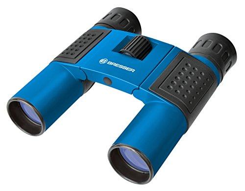 Bresser Taschenfernglas Faltfernglas Topas 10x25 mit Mitteltriebfokussierung, robuster Gummiarmierung und vollvergüteter Optik inklusive Trageriemen und Transporttasche, blau