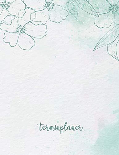 Terminplaner: Kosmetikstudio & Nagelstudio DATEN Kalender | 8AM - 8PM Friseur Salon Terminbuch | Mon - Son Beauty Tageskalender | Inkl. Kundenbuch | Green Pastel Flowers
