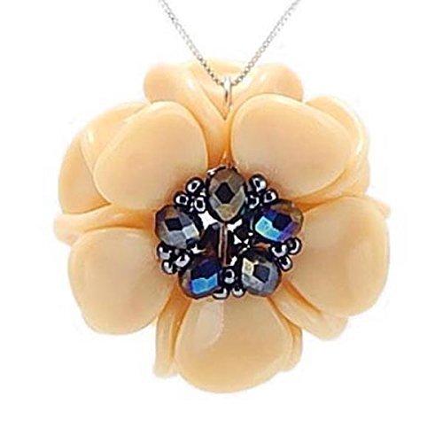 Handmade Vanilla White Glass Magnolia Pendant NEW Trust Flower on Necklace