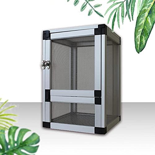 Acrílico Insecto Caja De Alimentación Hábitat Diseño Anti-escape Design Terrarium Contenedores Para Spider Lizard Frog Scorpion Portátil Crawling Pet Re(Size:20*20*30cm,Color:Puerta de malla plateada)
