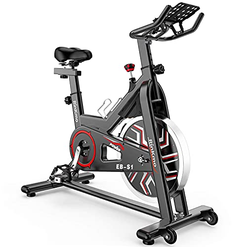 """Exercise Bikes Stationary, Adjustable Indoor Cycling Bike With Comfortable Seat Cushion & 3.12"""" Lcd Monitor For Cardio Home Workout"""